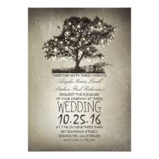 Rustic Tree String Lights Wedding Invitations
