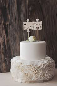 Wood Puzzle Piece Cake Topper