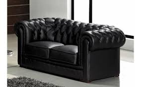 deco in canape capitonne 2 places noir chesterfield can 2220