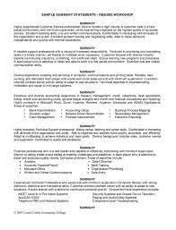 Resume Summary Examples For Customer Service Supervisor Sample Statements Workshop