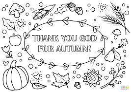 Autumn Coloring Page Thank You God For Free Printable Drawing