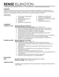 Best Medical Equipment Technician Resume Example