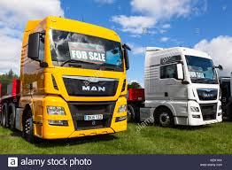 Commercial Vehicle Sales. MAN Trucks For Sale In The U.K Stock Photo ...