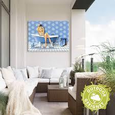 artland wandbild das blaue badezimmer frau 1 st in vielen größen produktarten alubild outdoorbild für den außenbereich