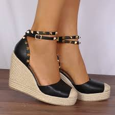 black studded wrap round canvas wedged platforms wedges strappy
