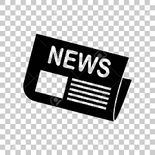 Newspaper Sign Black Icon On Transparent Background Stock Vector