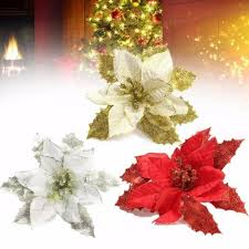 Novel Christmas Tree Decorations Artificial Flowers Xmas 15cm Poinsettia Glitter Flower Wedding Ornament Decor