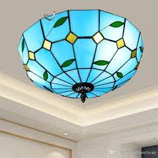 großhandel 16 zoll blue glass deckenleuchte jahrgang schlafzimmer deckenleuchte esszimmer licht aisle flur balkon eingang le tiffanyl