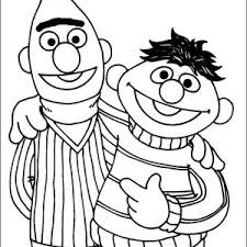 Sesame Street Bert And Ernie Are Best Friend In Coloring Page