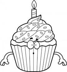 Surprised Cartoon Birthday Cupcake