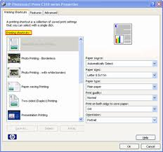 Graphic Printer Properties Window With Printing Shortcuts Highlighted