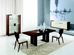 Rectangle Dark Brown Wooden Table Plus Chairs With White Leather Seat Placed On Long Dining