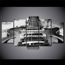 Abstract Canvas Prints Painting 5 Panel Music Instrument Decorative Modular Pictures Guitar For Living Room Bedroom