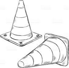 Detailed Drawings of Traffic cone royalty free stock vector art
