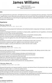 Pharmacy Technician Resume Sample Resumeliftcom