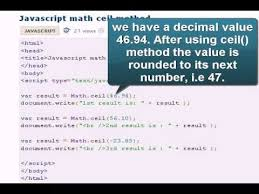 Java Mathceil To Int by Javascript Tutoriral Javascript Math Ceil Method Youtube