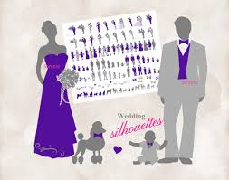 Silhouette wedding bridal party 108 Silhouettes clipart INSTANT DOWNLOAD purple and grey for DIY invitations and programs