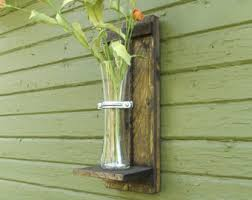 Rustic Wall Sconce Vase Stained Wood