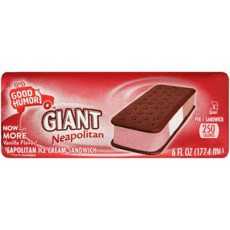 Good Humor Giant Neapolitan Ice Cream Sandwich - Vanilla, 177.4ml