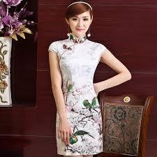 elegant white cotton birds print bodycon modern chinese qipao