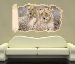 3d wandtattoo tapete afrika löwe löwin tiere savanne ruhe durchbruch selbstklebend wandbild wandsticker wohnzimmer wand aufkleber 11o1400