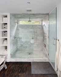 Luxurious Bathroom With Dark Rustic Wood Floors Marble Shower Glass