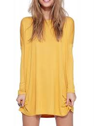 long sleeve plain dress limited edition good quality yellow round