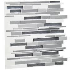 bravo glass and stone back splash in soft white with grey