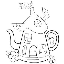 Teapot Shaped Pixie House Children Will Love To Decorate This Find Pin And More On Embroidery Coloring Sheets
