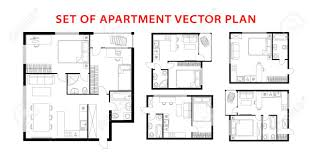 104 Two Bedroom Apartment Design Architecture Plan Set Studio Condominium Flat House One Interior Elements Kitchen Bathroom With Furniture Vector Architecture Plan Top View Royalty Free Cliparts Vectors And Stock Illustration