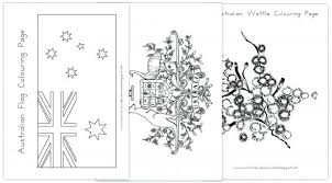 Day Colouring Pages Flag Coat Arms Australian Picture Coloring Australia Sheet