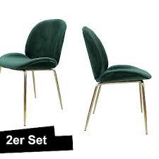samt stuhl grün gold 2er set esszimmerstuhl ebay