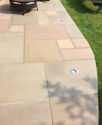 Patio Slabs by Honed Raj Green Indian Sandstone Natural Calibrated Patio Paving