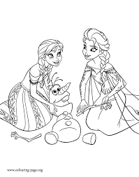 Anna And Elsa Frozen Olaf Coloring Page