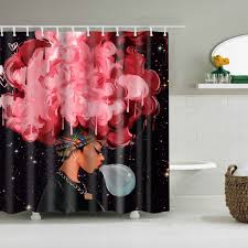 afro black magic shower vorhang girly bathroom