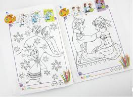 2015 Cartoon Frozen Sticker Book Anna Elsa Snow Queen Painting Coloring Books Drawing Paper 2 Stickers Presents For Kids Sheets Simple