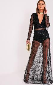 valentina black premium sequin long sleeve maxi dress dresses