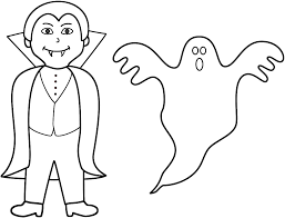 Ghost Coloring Page Vampire With Halloween Download Pages