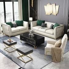 sofa polster sitz garnitur leder wohnzimmer sofas set 3tlg hocker 3 2 1