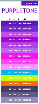Purple Tone Color Schemes Combinations Palettes For Print CMYK And Web RGB HTML