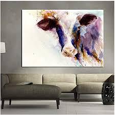 hyfbh abstrakte kunst aquarell kuh tier malerei wandkunst bilder für wohnzimmer leinwand malerei druckplakat dekoration bilder 60x90 cm mit rahmen