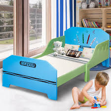 Crayon Themed Wood Kids Bed with Bed Rails – By Choice Products
