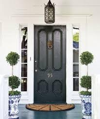 black front door High gloss porch floor navy