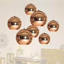 modern led chrome gold copper glass globe pendant