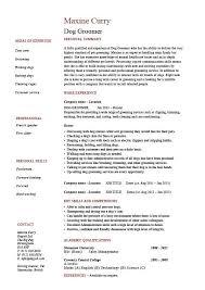 Dog Groomer Resume Pets Salon Job Description Example Sample Template Career History Coats