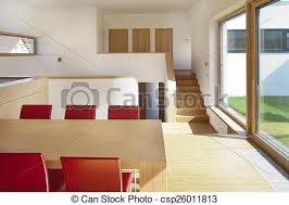schönes neues ruhiges modernes wohnzimmer mit küche canstock