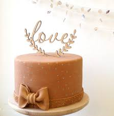 Love Cake Topper Wedding Rustic Wooden Decoration