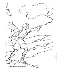 David And Goliath Using His Slingshot Bible Coloring Page