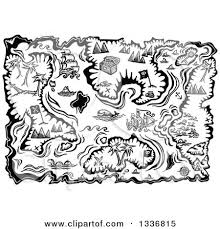 Clipart of a Black and White Treasure Map with Islands Boats and