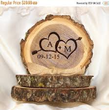 SALE Wedding Cake Topper Rustic Top Personalized Tree Slice Base Approx 4in X 5in Ta